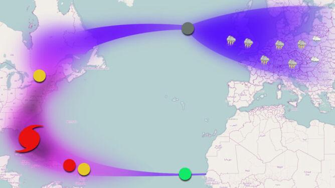 Mapa trasy i przemian Irene/TVN Meteo//Zielony - 15 sierpnia, powstaje tropikalna depresja; żółty - Irene staje się sztormem tropikalnym (20 sierpnia i 28 sierpnia); czerwony - 21 sierpnia Irene staje się huraganem i uderza na USA; szary - po 31 sierpnia niż Irene zmierza ku Europie