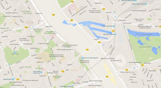 Wisła zniknęła Google Maps