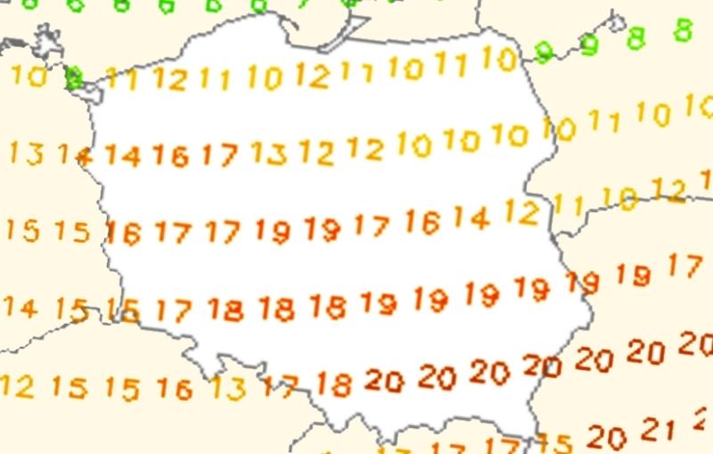 Prognoza temperatury na wtorek, 28 marca (model GFS)