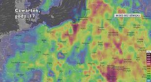 Potencjalny rozwój burz w ciągu najbliższej doby (Ventusky.com)   wideo bez dźwięku