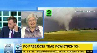Janina Trepińska z Zakładu Klimatologii Uniwersytetu Jagiellońskiego opowiada o sile wczorajszych trąb powietrznych (TVN24)